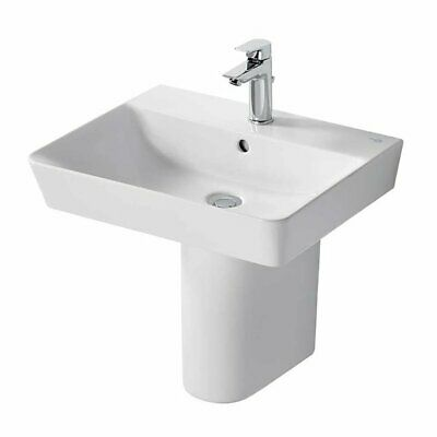 Ideal Standard Concept Air Cube Basin With Semi Pedestal 550mm Wide - 1 Tap Hole • 169.95£