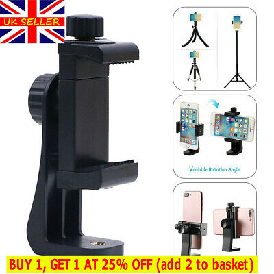 Rotating Cell Phone Holder Mount Stands Tripod Adapter For IPhone Samsung UK • 4.96£