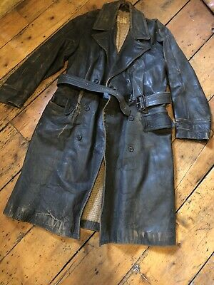 Vintage English Leather Driving Coat..steerhide.1920's/1930's ..Size 38/40 • 145£