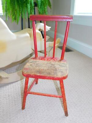 $21.95 • Buy Antique Vintage 1930s CHILDS DOLL CHAIR Red Wood Wooden 18  Tall W Spindles