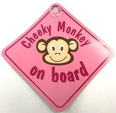 £3.57 • Buy Cheeky Monkey On Board Pink Suction Cup Safety Fun Car Display Window Badge Sign