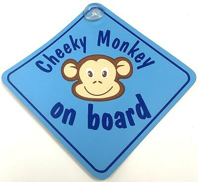£3.57 • Buy Cheeky Monkey On Board Blue Suction Cup Safety Fun Car Display Window Badge Sign