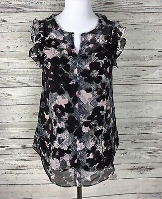 $12.99 • Buy CAbi #3618 Weaver Floral Ruffle Sleeveless Blouse / Top W/ Cami Size XS