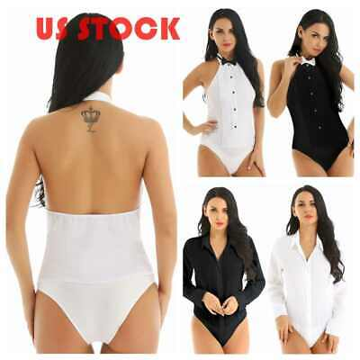 $15.95 • Buy Women Halter Top Tuxedo Shirt Bodysuit Bow Tie Set Tops Uniform Jumpsuit Costume