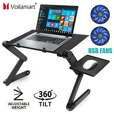 Adjustable Portable Laptop Bed Table Stand Lap Tray Foldable Desk W/ Cooling Fan • 16.98£