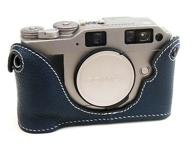 $ CDN88.21 • Buy Leather Royal Blue With White Stitching Half Case For Contax G2 - BRAND NEW