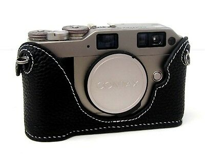$ CDN88.21 • Buy Leather Black With White Stitching Half Case For Contax G2 - BRAND NEW