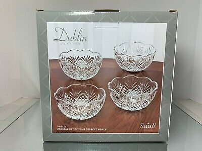 $32.99 • Buy Dublin Crystal Collection, Shannon By Godinger,  Set Of 4 Crystal Dessert Bowls