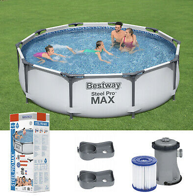 GARDEN SWIMMING POOL 305 Cm 10FT Round Frame Above Ground Pool With PUMP SET • 249.90£