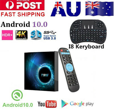 AU64.89 • Buy T95 Android 10.0  6K Smart TV BOX Keyboard Quad Core WIFI 3D Movies