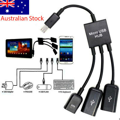AU7.99 • Buy 3 In 1 Male To Female Micro USB 2.0 Host Hub Cable Power  Adapter Charging OTG