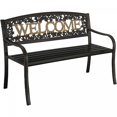 $107.62 • Buy Outdoor Metal Patio Porch Backyard Park Deck Welcome Bench Seat Chair Black Gold