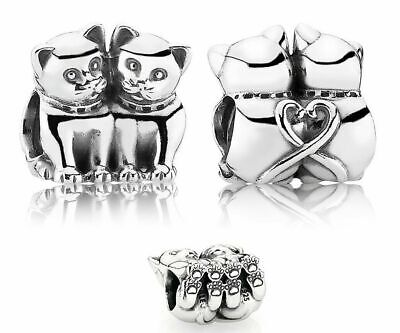 Genuine Pandora Sterling Silver Love Kittens Cats Charm 791119 ALE 925  • 14.99£