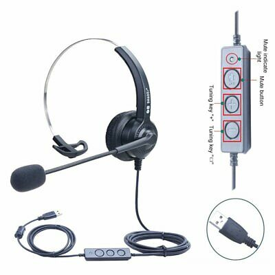 USB Computer Headset Over Ear Wired Headphones For PC Laptop Skype Call Center • 20.89£