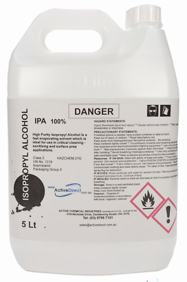 AU37.50 • Buy Isopropyl Alcohol 100% IPA Isopropanol 5L 5 Litres Fast Evaporating Cleaner