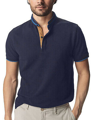 Men's Grandad Shirts Polo Shirt Short Sleeve Mandarin Regular Fit Pique PL11 • 11.99£
