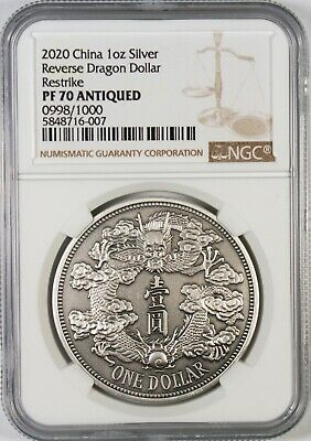 $52 • Buy 2020 China Antiqued 1 Oz. Silver Reverse Dragon Dollar Medal Restrike NGC PF70