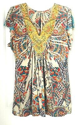$16.98 • Buy One World Live And Let Live Women's XL  Blouse Paisley Short Sleeve ~Multicolor