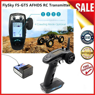 AFHDS FlySky FS-GT5 2.4G 6CH RC Transmitter W/FS-BS6 Receiver For RC Car Boat • 49.99£