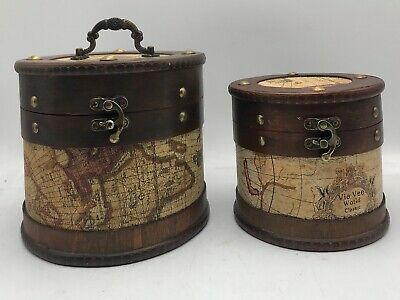 Rustic Wooden Box Colonial Style Trunk Treasure Chest Vintage Storage Round Map • 9.99£