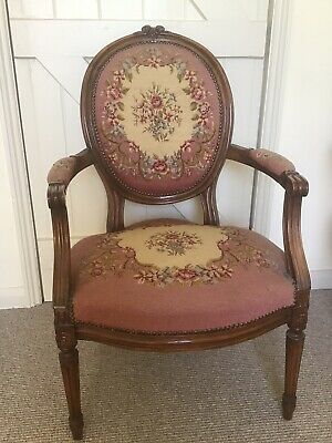 £285 • Buy French Needlepoint Embroidered Fauteuil Armchair - Antique Louis XV Style Chair