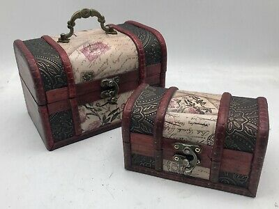 Rustic Wooden Box Colonial Style Trunk Treasure Chest Vintage Storage Floral  • 8.99£