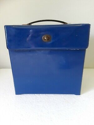 $14.99 • Buy 70's Thick  BLUE VINYL 45 RPM RECORD BOX STORAGE HOLDER CASE W/ Handle Dividers