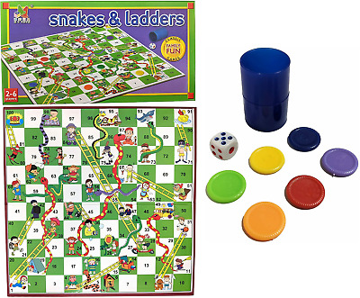 £5.99 • Buy Snakes And Ladders Childrens Board Game Large 35cm X 35cm Traditional Family Fun