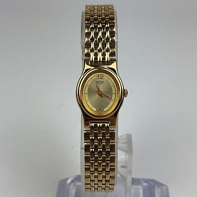 $ CDN40.79 • Buy SEIKO QUARTZ GOLD TONE WOMENS WATCH 12mm CASE V401-5109