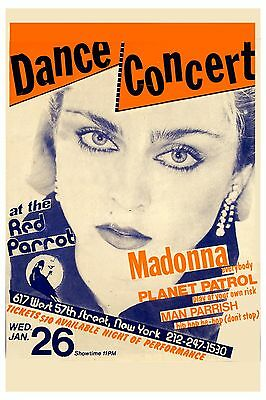 $12 • Buy EARLY: Madonna At The Red Parrot In New York City Concert Poster 1983  12x18