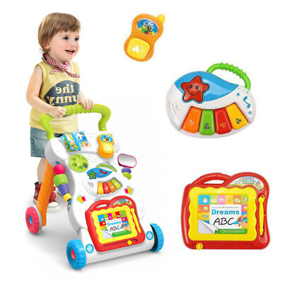 Interactive Baby Walker First Steps Push Along Bouncer Activity Music Melody Toy • 16.75£