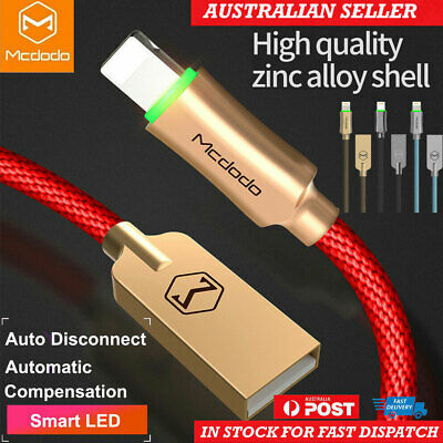 AU12.93 • Buy MCDODO Smart LED Auto Disconnect USB Charger Cable For IPhone XS Max X 8 6 Plus