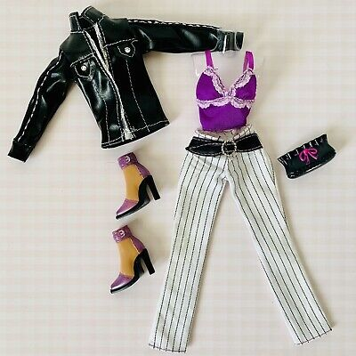 $9.50 • Buy My Scene Or Barbie Doll Clothes Faux Leather Jacket,Purple Top & Pinstripe Pants