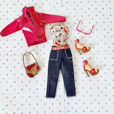 $9.50 • Buy My Scene Doll Or Barbie Clothes, Vinyl Pink Jacket, Flowerd Top & Jean Caprices
