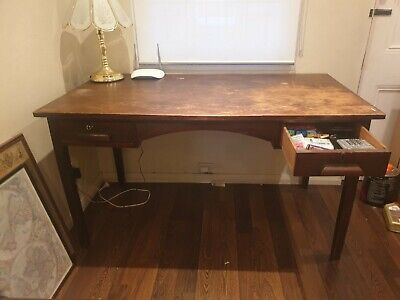 AU26.50 • Buy Handcrafted Wooden Desk With 2 Drawers - Ideal For WFH - Good Condition