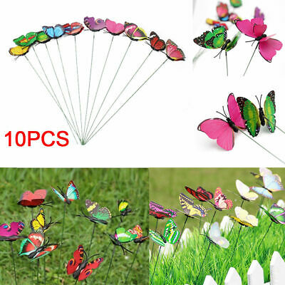 10Pcs Butterflies Stakes Colorful Ornaments Garden Patio On Sticks Home Decor UK • 3.29£