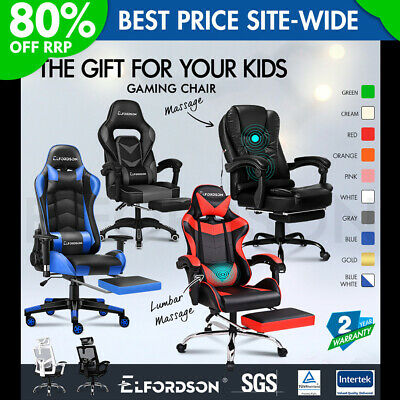 £109.95 • Buy ELFORDSON Gaming Office Chair Racing Executive Footrest Computer Seat PU Leather