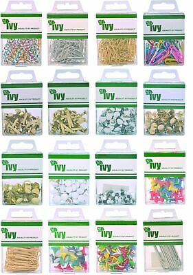 Ivy Paperclips Paper Fastener Drawing Pins Map Push Pins Brass Nickel Cork Board • 2.99£