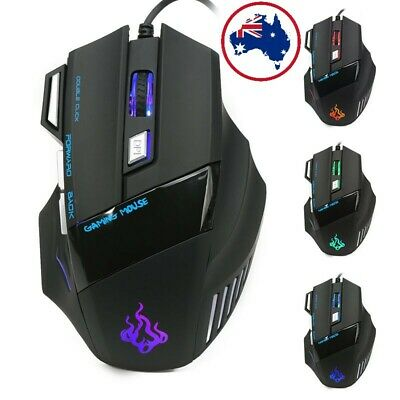 AU19.50 • Buy AU NEW 5500 DPI Gaming Mouse 7 Buttons Color LED USB Optical Wired For Pro Gamer