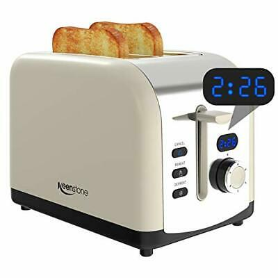$52.32 • Buy 2 Slice Retro Toasters, Keenstone Stainless Steel Toaster With Timer, (Cream)