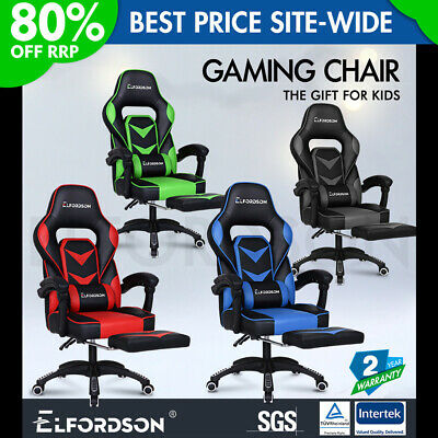 ELFORDSON Gaming Chair Office Seat Executive Padding Footrest Racing Leather • 109.90£