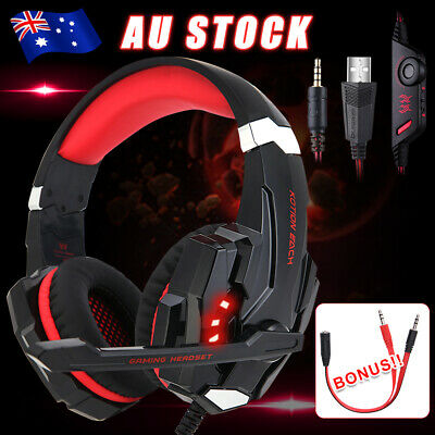 AU49.95 • Buy LED Gaming Headset MIC Volume Control RED Headphones For Mac Laptop PS4 Xbox One