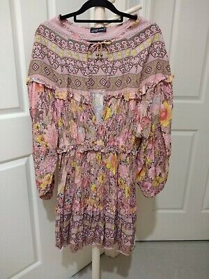 AU12 • Buy Lance Cade Size L Belle Sleeve Dress Boho Gypsy Spell Like Print.