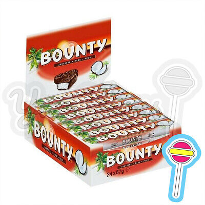 Bounty Dark Chocolate Twin Bars 57g Full Box 24 Bars | Clearance Bb: 07/02/21 • 12.29£