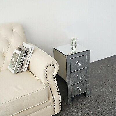 £79.99 • Buy New Mirrored Glass Bedside Cabinets Tables Crystal Chest Nightstand Bedroom UK