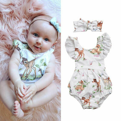 Toddler Infant Baby Girls Animal Print Romper Bodysuit Jumpsuit Clothes Outfits • 8.99£