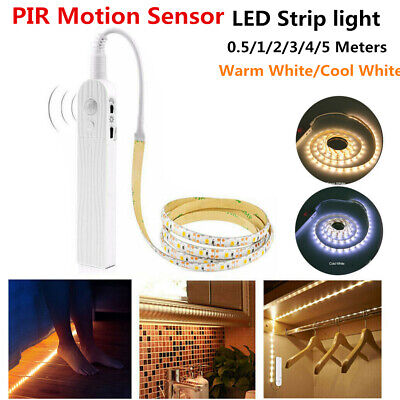 PIR Motion Sensor LED Strip Lights Battery Powered Hallways Closet Decor Light • 4.89£