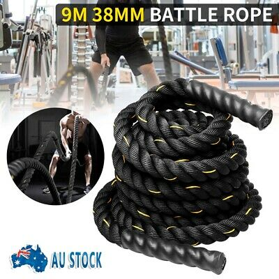 AU75.99 • Buy 9M Black Home Gym Battle Rope Battling Strength Training Exercise Fitness