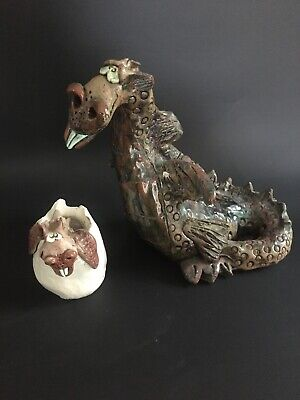 $12.95 • Buy Dragon Mother And Baby - Ceramic