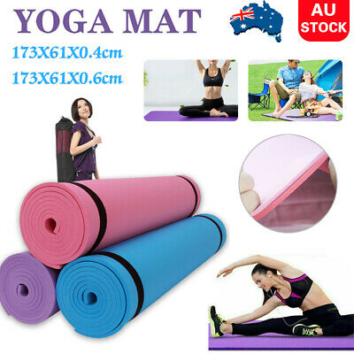 AU18.49 • Buy 4/6MM Thick Yoga Mat Fitness Exercise Mat Training Pilate Pad Gym Sports NonSlip